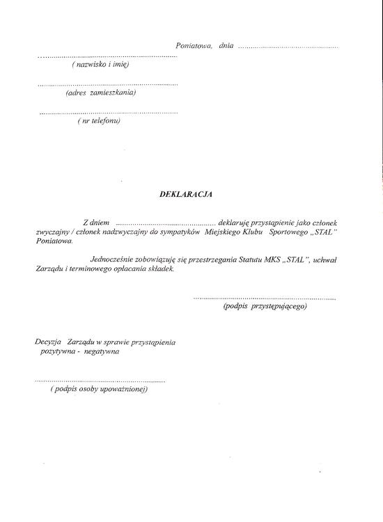 Deklaracja członkowska MKS Stal Poniatowa